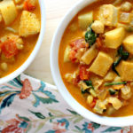 Spicy Chickpea Curry Stew with Veggies and Tofu